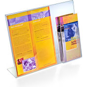 "Azar Displays 252056, L-Shaped Acrylic Sign HLR W/Trifold Brochure Pocket, 14""W x 11""H, 1-Pack"