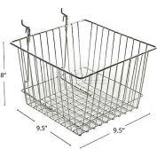 "Azar Displays 300622 Chrome Wire Basket, 8"" High, Metal ,1 Piece"