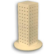 "Azar Displays 700220-ALM 12"" Pegboard Revolving Countertop Display, 4-Sided, Almond ,1 Piece"