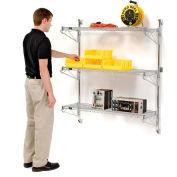 "Nexel® Chrome Wall Mount Wire Shelving 36""W x 14""D x 54""H 3 - Shelf Starter"