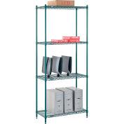 "Nexel® Poly-Green® Wire Shelving Starter, 36""W x 18""D x 86""H"