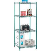 "Nexel® Poly-Green® Wire Shelving Starter, 24""W x 24""D x 63""H"