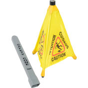 """Impact® Pop Up Safety Cone 20"""" Yellow/Black, Multi-Lingual  - Pkg Qty 4"""