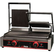 "Winco EPG-2 Electric Panini Grill, Ribbed Plates, 9"", 2 Sets"