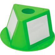 Inventory Control Cone, 3 Sided with Dry Erase Decals - Lime