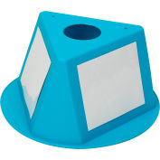 Inventory Control Cone, 3 Sided with Dry Erase Decals - Turquoise
