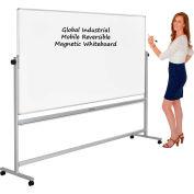 Global Industrial™ Mobile Reversible Whiteboard - 96 x 48 - Porcelain - Silver Frame