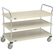 "Nexel® Utility Cart With Chrome Posts, 3 Shelf, 48""Lx24""W, Polyurethane Brake Casters, Tan"