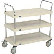"Nexel® Utility Cart With Chrome Posts, 3 Shelf, 36""Lx18""W, Polyurethane Brake Casters, Tan"
