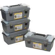"Plano Molding 652-009 Toolbox with Tray and (2) compartment boxes 20-1/4""L x 10-7/8""W x 9-1/8""H Gray - Pkg Qty 4"