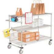"Curbside Cart, Nexelate™, 30""L x 18""W x 40""H, 3 Wire Shelves, Polyurethane Casters"
