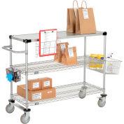 "Curbside Cart, Nexelate™, 48""L x 18""W x 40""H, 2 Wire, 1 Solid Shelf, Polyurethane Casters"