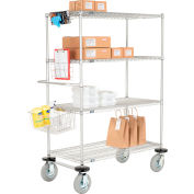 "Nexel® Curbside Truck, Chrome, 36""L x 21""W x 72""H, 4 Wire Shelves, Pneumatic Casters"