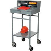 """Winholt Mobile Open Base Shop Desk, Pigeonhole Riser, 24""""W x 22""""D, Gray"""