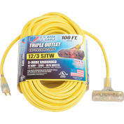 U.S. Wire 76100 100 Ft. 12/3 SJTW-A Pow-R-Block Extension, Round, Yellow, 300V, Illuminated Plug