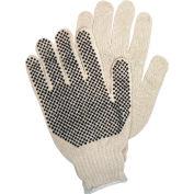 PVC Dot String Knit Gloves, 1-Side PVC Dots, Memphis Glove 9650LM, 12-Pair