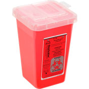"""1-Quart Phlebotomy Sharps Container, Dual Openings, 6-7/16""""H x 4-1/4""""W x 4-1/4""""D, Red"""