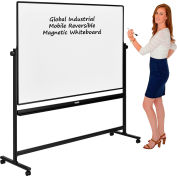 Global Industrial™ Mobile Reversible Whiteboard - 72 x 48 - Porcelain - Black Frame