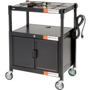 Safco® Steel Adjustable AV Cart With Cabinet