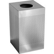 Rubbermaid® Silhouette SC22E Square Open Top Receptacle w/Liner, 40 Gallon - Silver Metallic