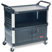 Rubbermaid® Xtra™ 4095 3 Shelf Black Equipment Locking Cabinet Cart