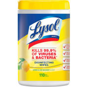 """LYSOL® Disinfecting Wipes, Lemon Lime, 7"""" x 8"""", 110 Wipes/Can, 6 Cans/Case - 78849"""