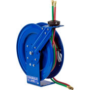 "Coxreels P-WT-125 1/4""x25' 200 PSI Spring Retractable Steel Welding Cable Reel W/ T-Grade Hose"