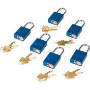 American Lock® No. A1106BLU Solid Aluminum Rectangular Padlock, Blue - Pkg Qty 6