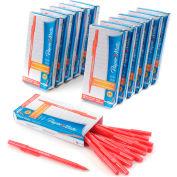 Paper Mate® Write Bros Ballpoint Stick Pen, Medium, Red Ink, Dozen