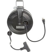 Bayco® SL-801 Triple Tap Extension Cord, Retractable Reel, 30'L Cord, 14/3 GA, BLK