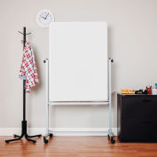 "Global Industrial™ Mobile Reversible Magnetic Whiteboard - 36""W x 48""H - Steel - Silver Frame"