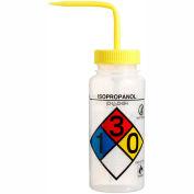 Bel-Art LDPE Wash Bottles 118160008, 500ml, Isopropanol Label, Yellow Cap, Wide Mouth, 4/PK