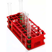 Bel-Art No-Wire™ PP Test Tube Rack 187460002, For 16-20mm Tubes, 40 Places, Red, 1/PK