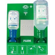 PLUM 248804003 Eye Wash Station, Open, Wall-Mount, 500ML 0.9% Saline, 200ML pH Neutralizing