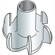 "Tee Nut - 3/8-16 x 7/16"" L - 4 Prong - Steel - Zinc CR+3 - Pkg of 100 - Brighton-Best 302550"