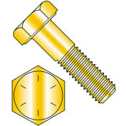 "1/4-28 x 1"" Hex Head Cap Screw - Steel - Zinc Yellow - UNF - Grade 8 - USA - 100 Pack - BBI 454044"