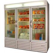"""Three Door Glass Door Merchandiser Freezer, 78""""W MMF72HC-5-B"""