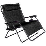 Bliss 2 Person Gravity Free Recliner with Cup Tray - Black