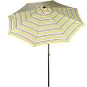 Bliss 9' Market Polyester Outdoor Umbrella, Crank & Tilt, Montauk Stripe
