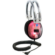 "Hamilton LED Light-Up Clear Housing Deluxe Headphone with 1/8"" Plug & 1/4"" Adapter, Vol. Control"