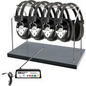 Wireless 4-Station Listening Center; Headphones, Bluetooth Transmitter, Multi Frequency & Rack