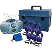 Listening Center Cool Kids Blue Color, 8 Station, CD Boom Box, Deluxe Headphones