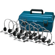Lab Pack, 12 HA2V Personal Headphones w/ Carrying Case