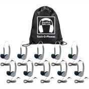 Sack-O-Phones, 10 Personal Headsets, Wire Head Band  Foam Ear Cushions in a Carry Bag