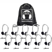 Sack-O-Phones, 10 Personal Headsets, Foam Ear Cushions in a Carry Bag, Gray