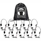 Sack-O-Phones, 10 Personal Headsets w/ Mic,  Foam Ear Cushions in a Carry Bag