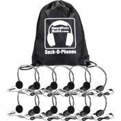 Sack-O-Phones, 10 Personal Headsets, w/ Volume Control, Foam Ear Cushions in a Carry Bag