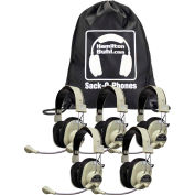 Sack-O-Phones, 5 Deluxe USB Headphones w/ Mic  in a Carry Bag