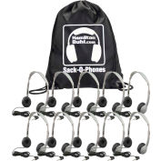 Sack-O-Phones, 10 Personal Headsets, Leatherette Ear Cushions in a Carry Bag