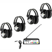 Wireless Listening Center, 4 Station with Headphones and Bluetooth Transmitter, Multi Frequency